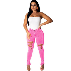 Plus Size 2XL Neon Green Orange Sexy Jeans Pants for Women High Stretchy Holes Casual Denim Trousers Streetwear Pencil Pants
