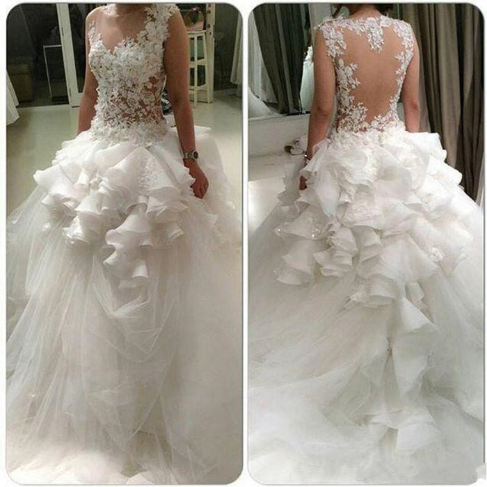 Wedding Gowns Tulle Bridal Gowns Ruffles Tiered Peplum Illusion Back Sheer