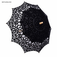 2019 Summer Vintage Lace Umbrella Parasol For Birde High Quality Lace Wood Handle Womens Wedding Sun Umbrella Sombrillas Boda