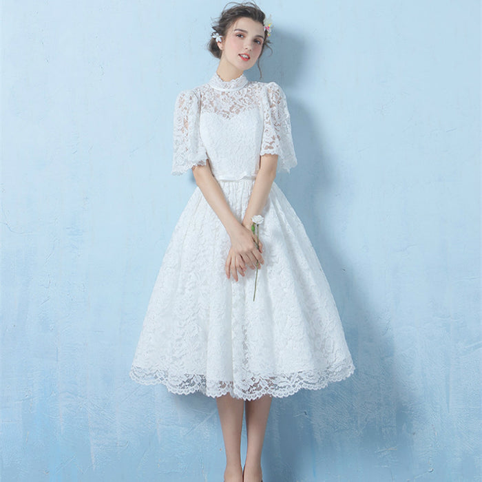 High Neck Lace Vestido De Noiva Fairy Flare Sleeve A-line Tea-length