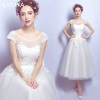 LAMYA Tea Length Cap Sleeve Wedding Dress Appliques With Crystal Bridal
