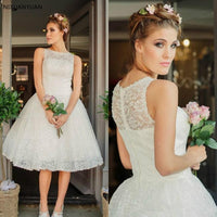 Short Wedding Dress with Jacket Lace Garden Best Sale White Ivory