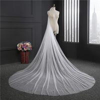 One Layer Chapel Length Bridal Veils Simple Cheap Soft Tulle White Ivory
