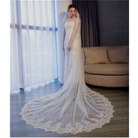 5 Meter White Ivory Cathedral Wedding Veils Long Lace Edge Bridal Veil + Comb