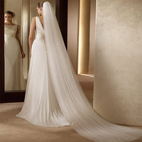 cheap Real Photos 3M or 2M White/Ivory Wedding Veil One-layer long Bridal