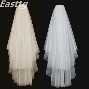 Champagne White Ivory Elegant Bridal Veils 2 layers With Comb Cut Edge Soft