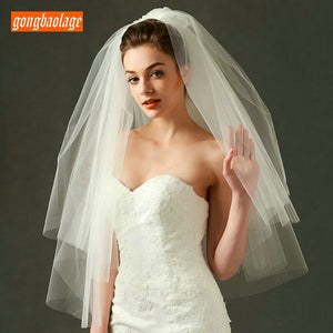 Elegant White veiling Two Layers Veils Soft Tulle Short Bride Veil Ivory 75cm