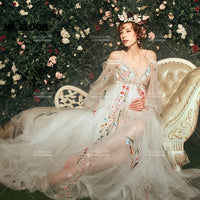 New Tulle Maternity Photography Dress Props Beautiful Palace Embroidered Studio