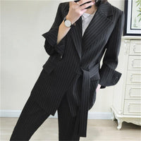 Fashion Pant suits female Autumn New British style Casual striped suit