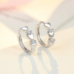 Solid 925 Sterling Silver Tiny Small Heart Hoop Earrings Huggie Girls Kids Simple