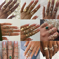 15 Pcs/set Vintage Boho Snake Shape Animals Finger Rings Set Gold Crystal Midi Kunckle Ring Wedding Party Jewelry Accessories