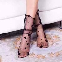1 Pair New Arrivals Women Girl Ultrathin Sheer Lace Ruffle Fishnet Ankle High Socks Mesh Hosiery Glitter Star Fish Net Socks