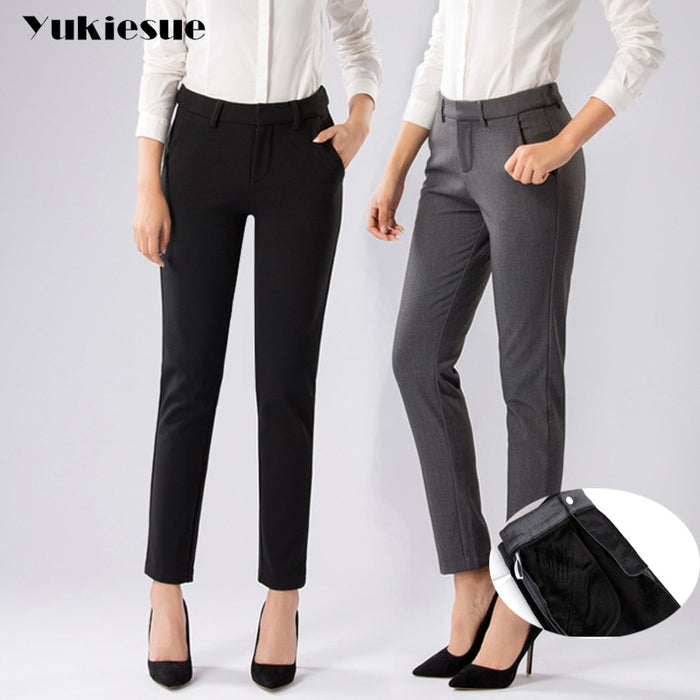 Plus Size Formal Pants for Women Office Lady 2017 winter fleece Work Wear Straight Trousers Female Clothing Business Design
