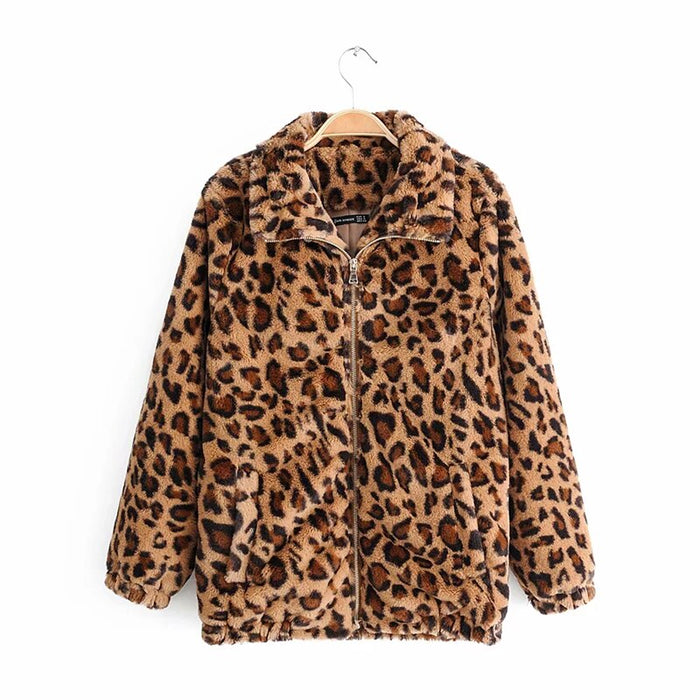 Women Winter Autumn Vintage Leopard Jacket Female Warm Animal Print Tops