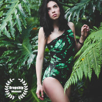 2019 Vintage Green Women One piece Swimsuit SEXY One Shoulder Flower Monokini Summer Swimming Swimwear Push Up Tropical Bathsuit