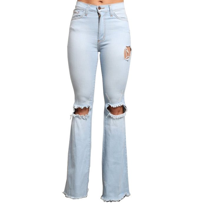 Plus Size High Waisted Flare Jeans Bell Bottom Jeans For Ladies Women Distressed Wide Leg Denim Pant Hole Ripped Boyfriend Jeans