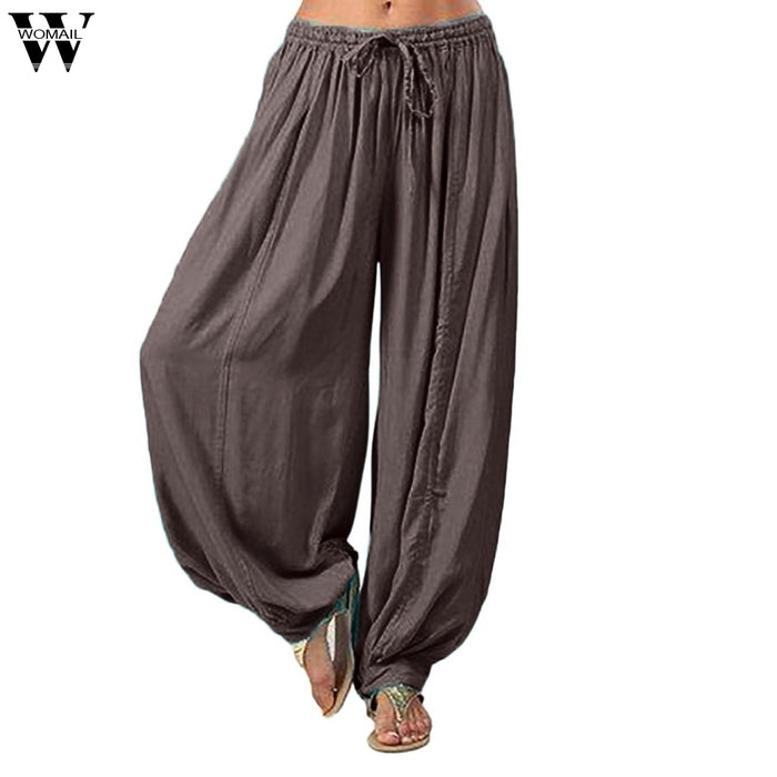 Womail Trousers Women's Casual Pants Plus Size Solid Color Loose Harem Pants Cotton Linen Full Length For Ladies May20