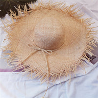 beach hat summer women Casual sun hats hats wide brim Straw Solid color Foldable Beach hat seaside holiday sun protection visor