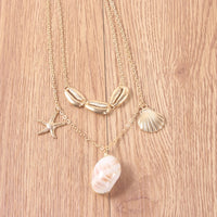Luxury Gold Color Cowrie Shell Pendant Necklace for Women Fashion Chain