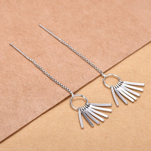 Hiphop 925 Sterling Silver Tassel Fan Earrings Hanging Ear Threads Threader