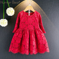 Casual Long Sleeves lace Mesh Kids Dresses For Girl Autumn Clothing Princess Party