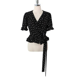 shintimes Short Sleeve Bow Sashes Shirt Women Polka Dot Blouse Sexy V-Neck Clothes 2019 Summer Tops Korean Style Chemise Femme