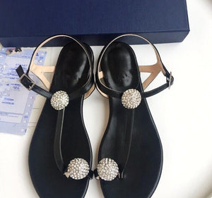 Spring and summer new fashion sandals low heel diamond Roman Muller rhinestone flat sandals female one word with sandals