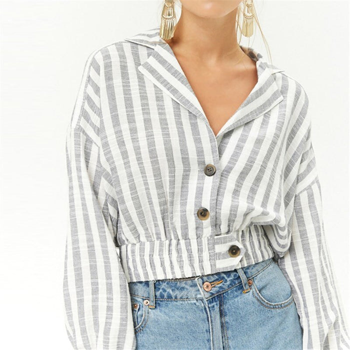 spring autumn western style fashion loose striped single-breasted long sleeve SM L XL XXL thin fabric woman Casual short jacket