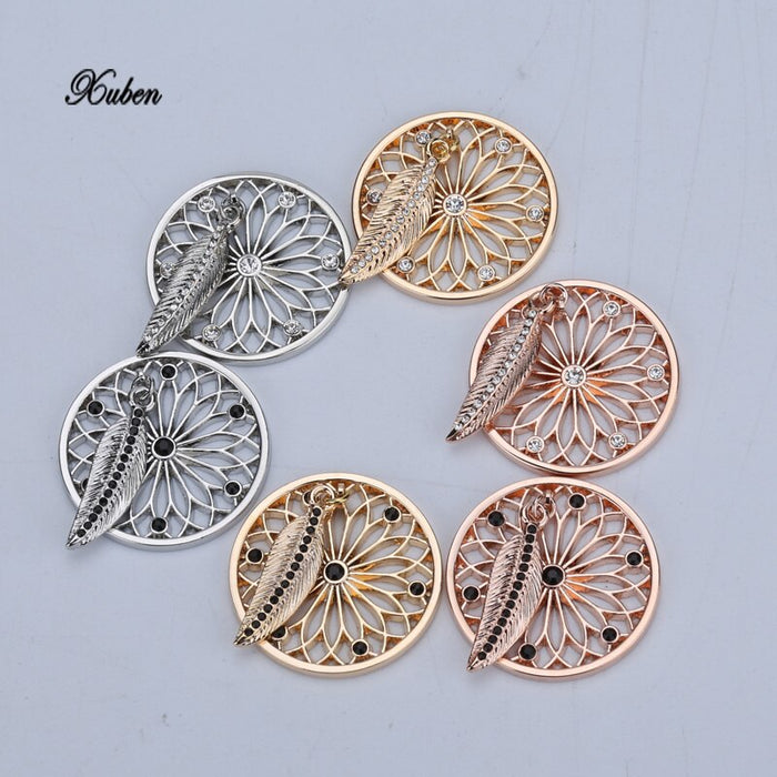 style Newest My Coin 33mm Mixed Coin Disc Pendant with Big Crystals for Coin Holder Necklace in Women Jewelry with Feather D