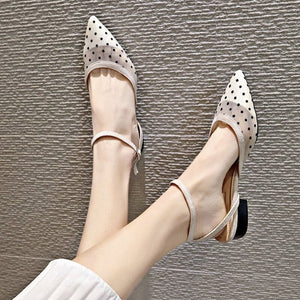 summer women chunky sandals sexy polka dot mesh pointed close toe shallow sandals brand breathable buckle hollow sandalias shoes