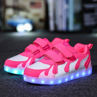 STRONGSHEN Pink Hot USB charging Fashion colorful glowing student shoes