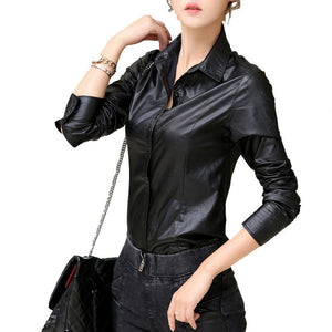 Leather shirt women blouses fashion Casual  ropa mujer roupas long sleeved autumn winter