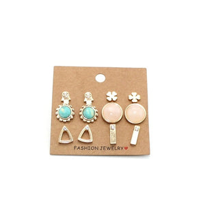 wing yuk tak Hot Sales 6 Pairs/Set Earrings Trendy Cute Flower Sun Stud Earrings For Women New Vintage Fashion Jewelry