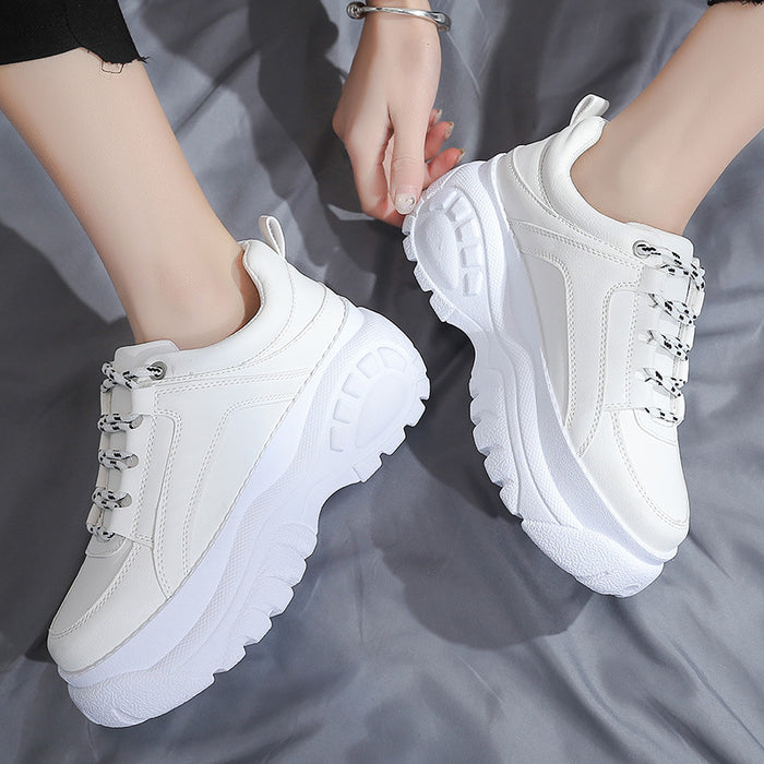 women Dad shoes autumn bright wear-resistant tire bottom casual white Chunky Sneakers for female fashion Vulcanize Shoe woman