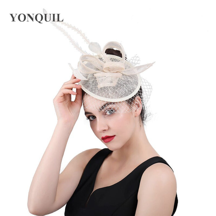 women beige fascinators veil hats Linen accessories fancy feather Ladies church cocktail headpiece New party Headwear Headbands