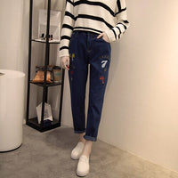 xl -5xl women plus size embroidery jeans ankle length female blue casual zipper pencil pants K86