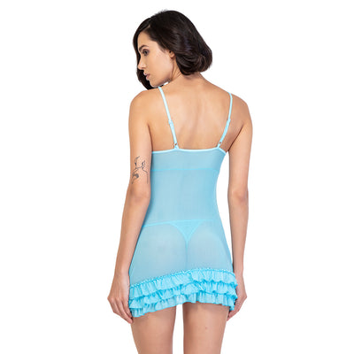 Pretty Plunging Neck Lace Babydoll