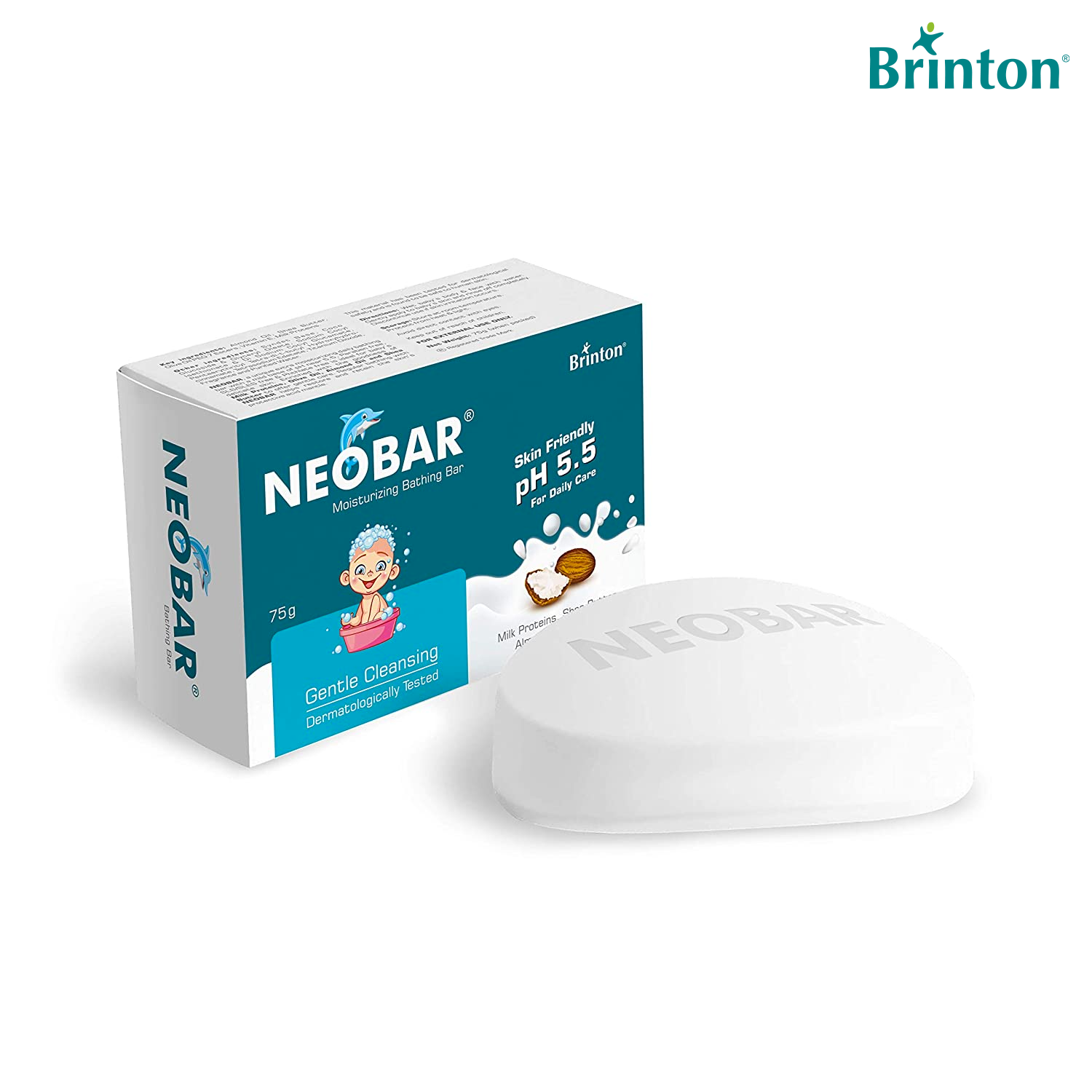 Brinton Neobar Baby Soap for Bathing, Moisturizing, Gentle Cleansing, Skin Friendly | Pack of 4 | Daily Care | pH 5.5