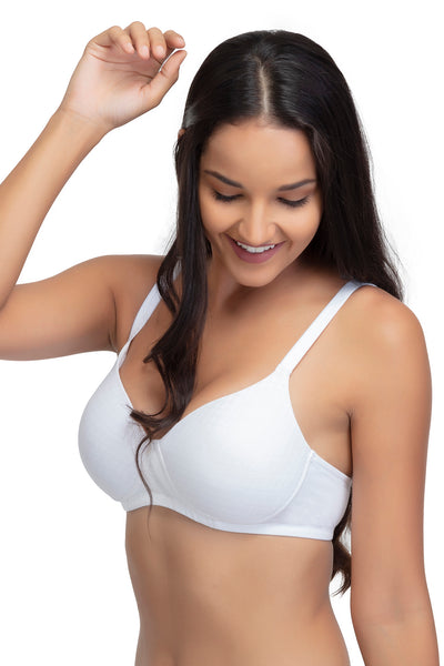 Organic Cotton Everyday Bra, Non wired , Lightly Padded, High Coverage, Textured Design