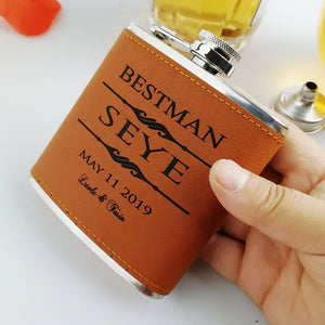 Leather Groomsmen Flask - Jack and Miles