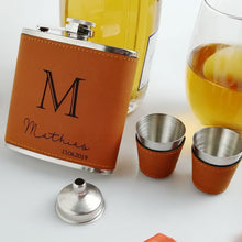 Load image into Gallery viewer, Leather Groomsmen Flask - Jack and Miles