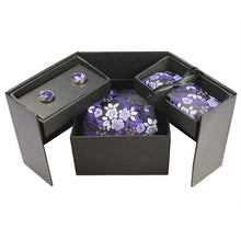 Load image into Gallery viewer, Tie Box Collection- Black and Violet  Floral - Jack and Miles Bow Tie