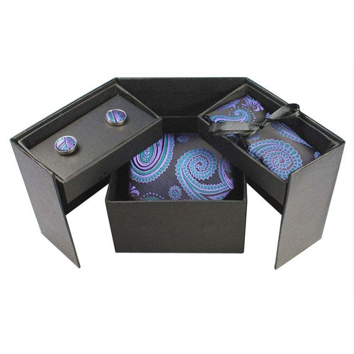 Tie Box Collection-Black and Blue Paisley - Jack and Miles Bow Tie
