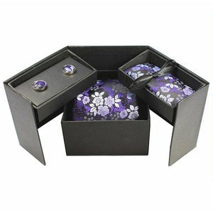 Tie Box Collection- Black and Violet  Floral - Jack and Miles Bow Tie