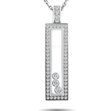 Chopard Chopard Happy Diamonds 18K White Gold and Diamond Rectangle Pendant Necklace