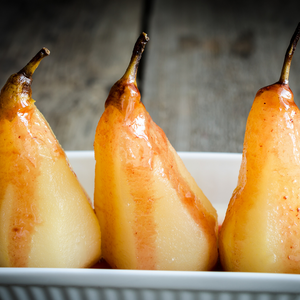 Pears Poached in Pinot Gris with Pohutukawa Honey and Ginger