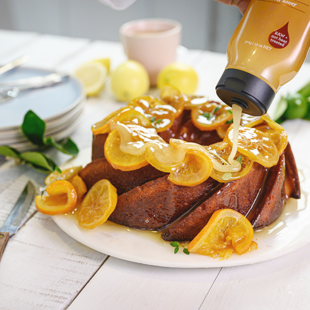 Lemon & Thyme Syrup Cake with Honey Glazed Citrus