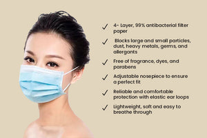 Antimicrobial 4-Ply Disposable Face Mask