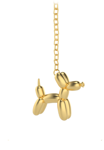 Balloon doggy necklace  dorado con aro