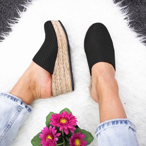 Abacde Espadrille Slip On Wedge Sandals